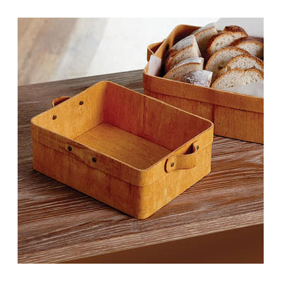 "American Metalcraft PWRB10 8-1/2"" Rectangular Basket with Handles - Poplar Wood"