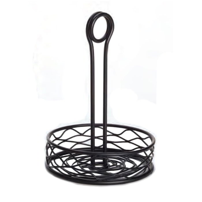 "American Metalcraft RBNB16 6"" Round Wire Condiment Rack w/ Center Handle, Black"