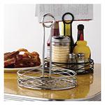 "American Metalcraft RBNB17 7.75"" Round Wire Condiment Rack w/ Center Handle, Black"