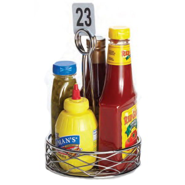 American Metalcraft RBNC26 6-in Condiment Rack w/ Center Handle, Wire/Chrome