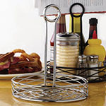 "American Metalcraft RBNC27 7.75"" Condiment Rack w/ Center Handle, Wire/Chrome"