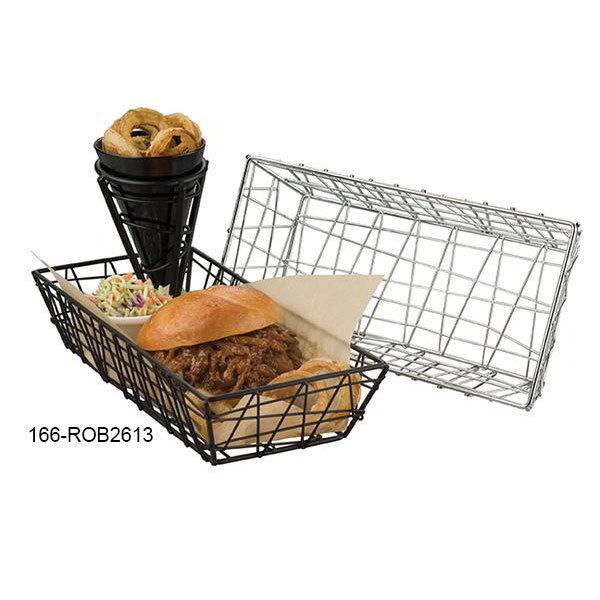 American Metalcraft ROB2613 Rectangular Zorro Basket, Black