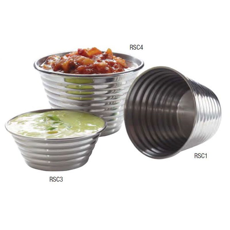 American Metalcraft RSC4 3-in Round Sauce Cup w/ 4-oz Capacity, Ribbed Finish, Stainless