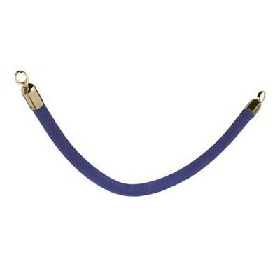 American Metalcraft RSCLRPGOBU 2-in Velour Barrier System Rope w/ Gold End, Blue