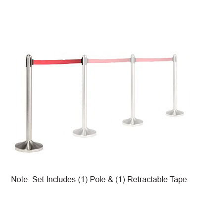 "American Metalcraft RSRTRD 15"" Portable Barrier System w/ (1) Stainless Pole & (1) Retractable Red Tape"