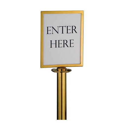 "American Metalcraft RSSIGNLSPG Barrier System Sign, 8.5x11"", Gold"
