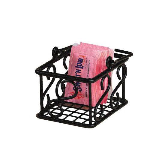 American Metalcraft SBS533 Sugar Packet Basket w/ Scroll Design, Wrought Iron/Black