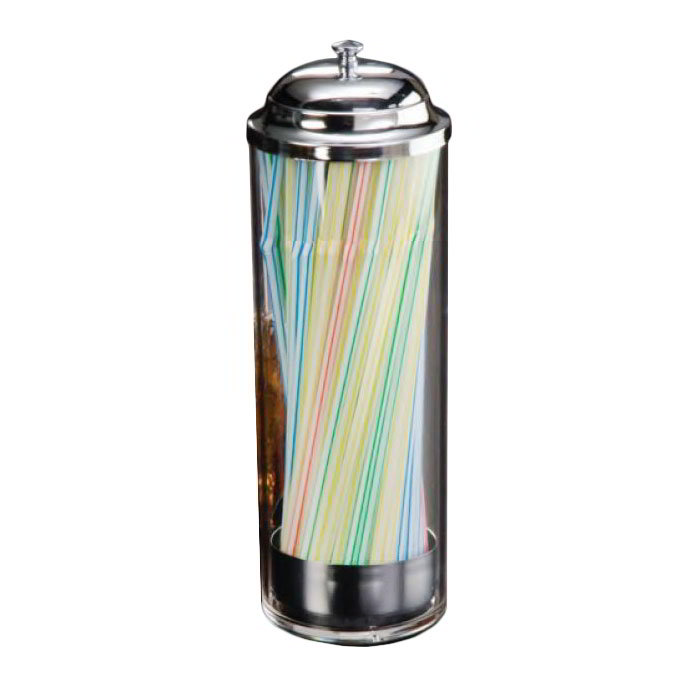 American Metalcraft SD3511 Straw Dispenser w/ Removable Metal Dispenser, Plastic