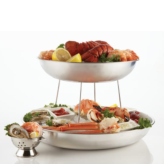 "American Metalcraft SEA18 17.75"" Round Seafood Tray, Aluminum"