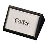 "American Metalcraft SIGNC3 ""Coffee"" Table Tent Sign - 1.75"" x 3"", Silver/Black Wood"