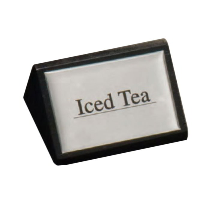 "American Metalcraft SIGNIT2 ""Iced Tea"" Table Tent Sign - 1.75"" x 3"", Silver/Black Wood"