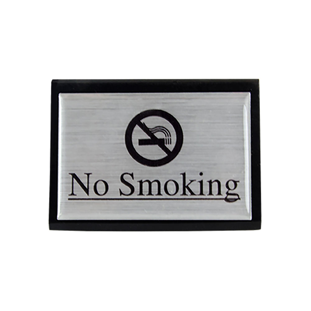 "American Metalcraft SIGNS7 ""No Smoking"" Table Tent Sign - 1.75"" x 3"", Silver/Black Wood"