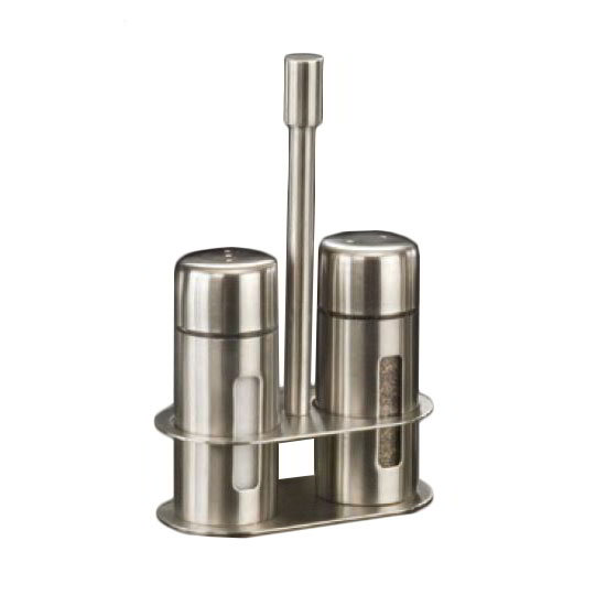 American Metalcraft SP6 3.25-in Salt & Pepper Shaker Set w/ Base, Stainless
