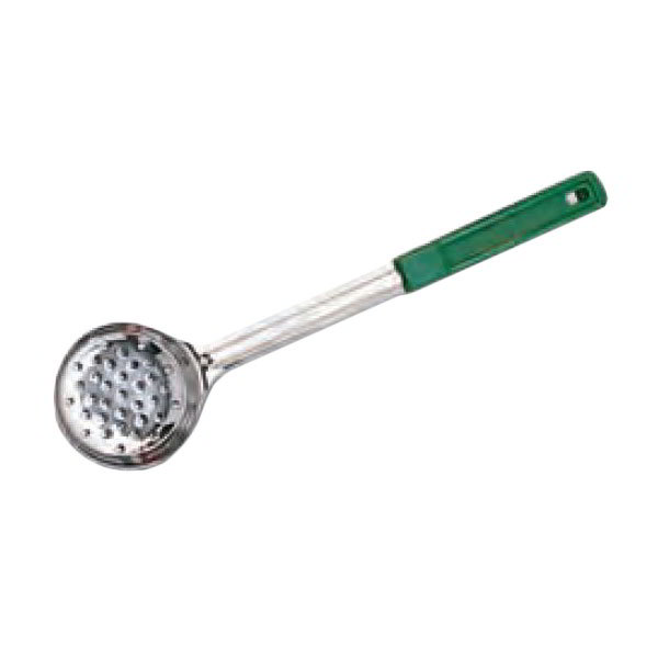 "American Metalcraft SPNP4 3.37"" Ladle Style Perforated Bowl w/ 4-oz Capacity & Grip Handle, Green"