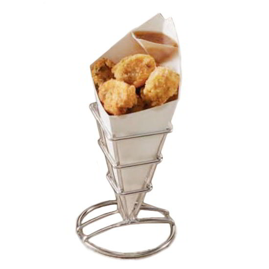 "American Metalcraft SQFBSS Fry Cone Holder, 2.5x3.62"", Stainless"