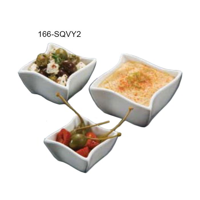 "American Metalcraft SQVY2 2.5"" Condiment Bowl w/ 2.1-oz Capacity, Porcelain/White"