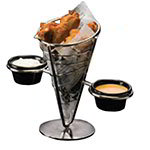 "American Metalcraft SS92 5"" Conical Basket w/ 1-Cone Capacity & 2-Ramekin, Black/Stainless"