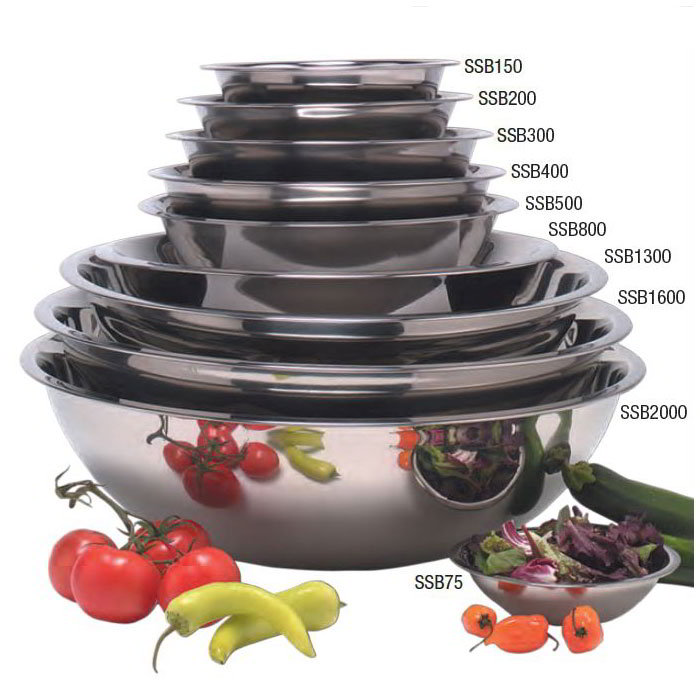 "American Metalcraft SSB200 8.5"" Mixing Bowl w/ 2-qt Capacity, Stainless"