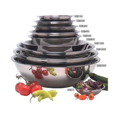"American Metalcraft SSB500 11.5"" Mixing Bowl w/ 5-qt Capacity, Stainless"