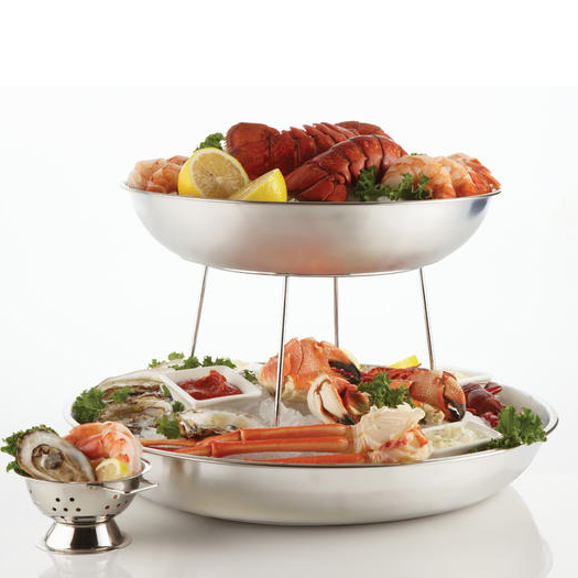 """American Metalcraft SSEA12 12"""" Round Seafood Tray w/ 118-oz Capacity, Stainless"""