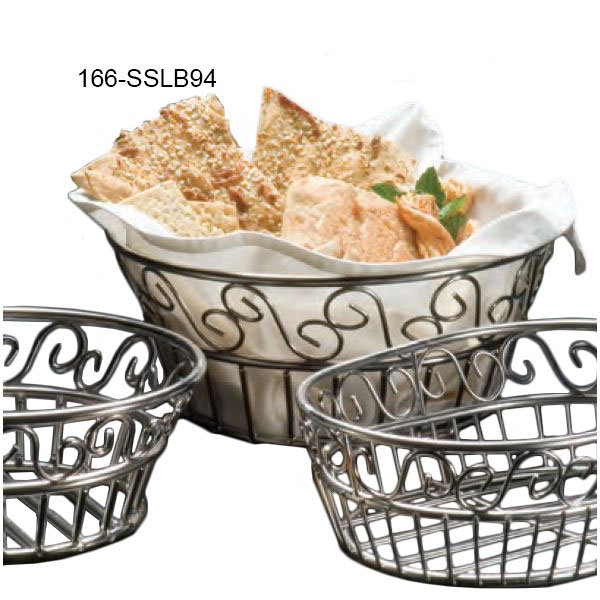 American Metalcraft SSLB94 9-in Round Bread Basket w/ Scroll Design, Stainless