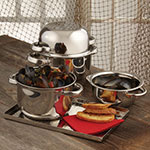 """American Metalcraft SSMS10 10-1/2"""" Mussel Server with Cover - Stainless"""