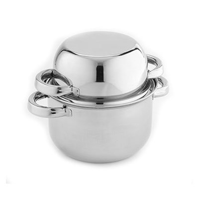 "American Metalcraft SSMS9 9"" Mussel Server with Cover - Stainless"