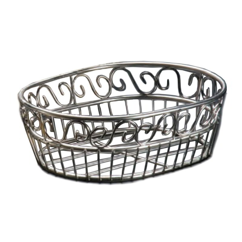 American Metalcraft SSOC97 Oval Bread Basket w/ Scroll Design, Stainless