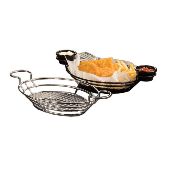 American Metalcraft SSOV1180 Oval Wire Basket w/ Built-In Ramekin Holders, Stainless