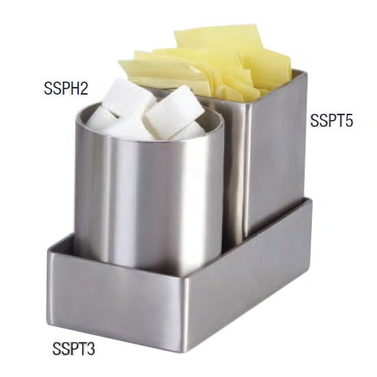 "American Metalcraft SSPT5 2"" Square Sugar Packet Holder, Satin/Stainless"