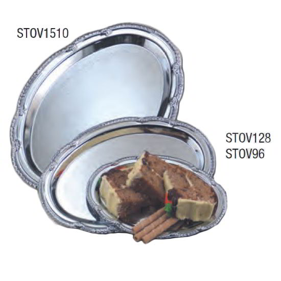 "American Metalcraft STOV128 Elegance Serving Tray - 8x12"", Oval, Embossed, Chrome Plated"