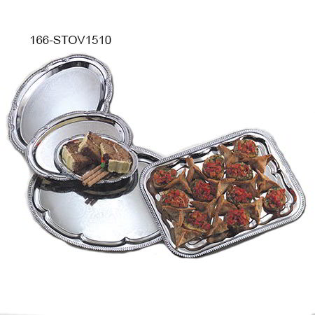 "American Metalcraft STOV1510 Elegance Serving Tray - 10x15"", Oval, Embossed, Chrome Plated"