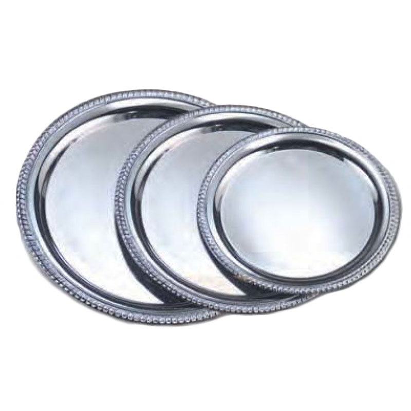 "American Metalcraft STRD214 14"" Elegance Serving Tray - Round, Embossed, Chrome Plated"