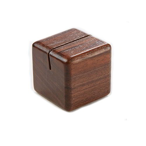 "American Metalcraft SWCH 3"" Square Wood Card Holder - Walnut-Finish"