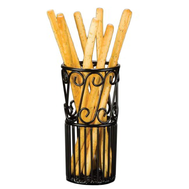 American Metalcraft TBS38 Tall & Lean Breadstick Basket w/ Scroll Design, Wrought Iron