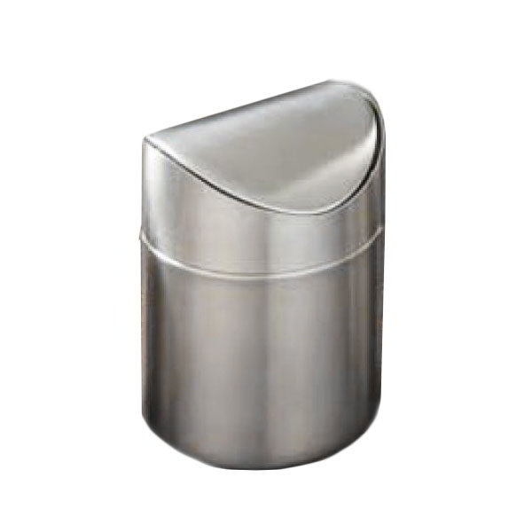 "American Metalcraft TIM3 4"" Round Swing-Style Waste Bin - Brushed Stainless"