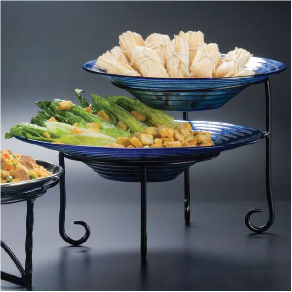 "American Metalcraft TLSP1219 2-Tier Display Stand w/ Curled Foot, 12x19"", Wrought Iron/Black"