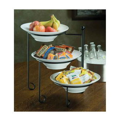 American Metalcraft TTRSMEL7 3-Tier Stand Set w/ Melamine Bowls - Wrought Iron, Black