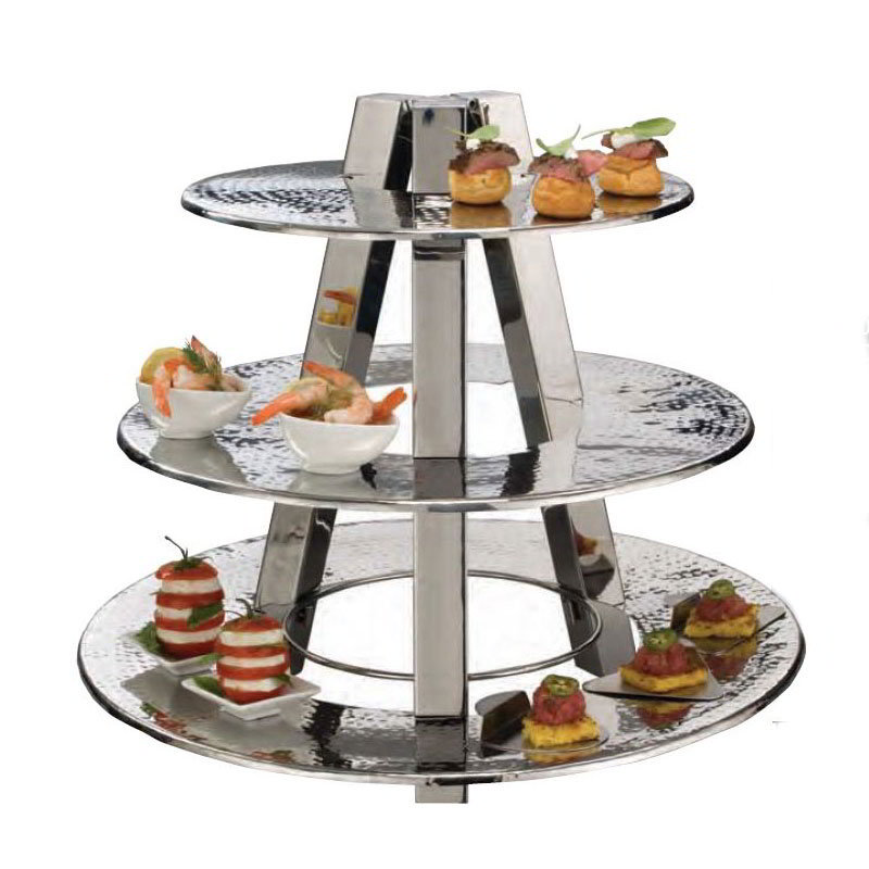 American Metalcraft TTS2319 3-Tier Accent Display Stand, Hammered, Stainless
