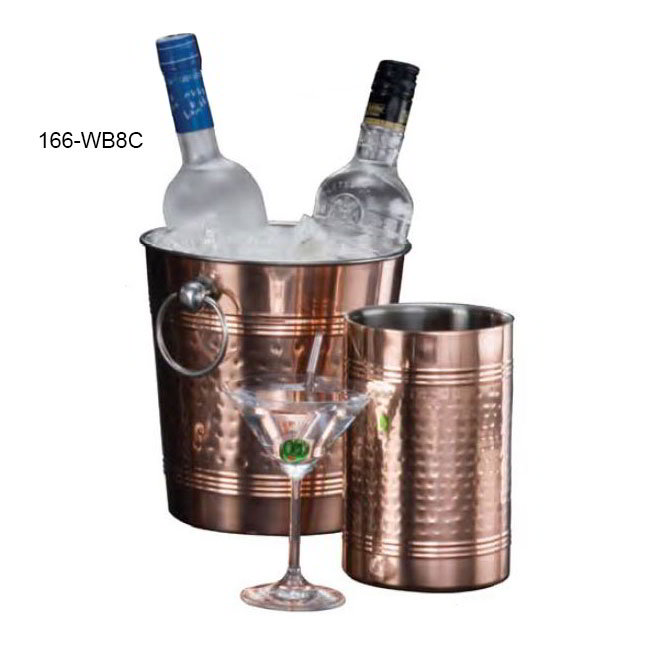 American Metalcraft WB8C 9.37-in Wine Bucket, Hammered Finish, Copper/Stainless