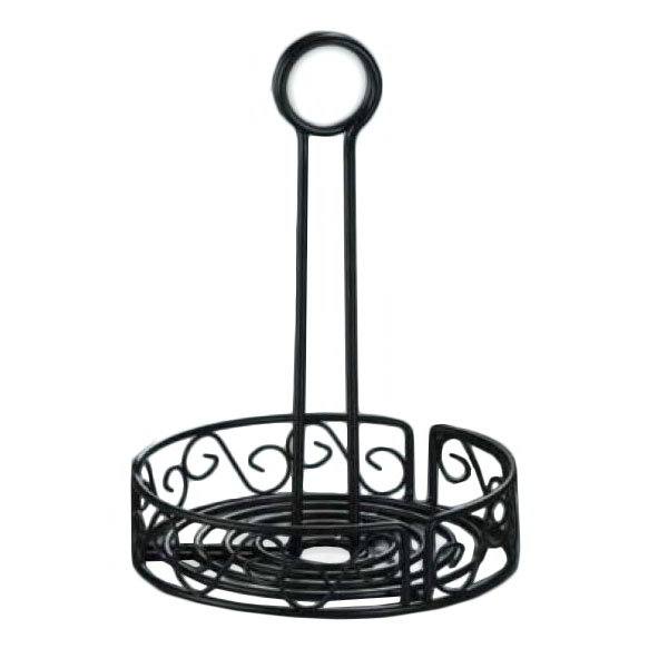 "American Metalcraft WBCC6 6.5"" Condiment Rack w/ Center Handle & Slot, Scroll Design, Wrought Iron/Black"