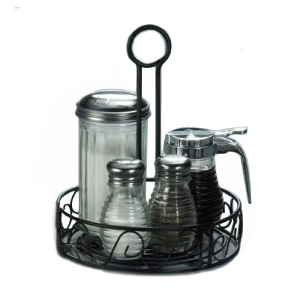 "American Metalcraft WBCC7 7.5"" Condiment Rack w/ Center Handle & Slot, Scroll Design, Wrought Iron/Black"