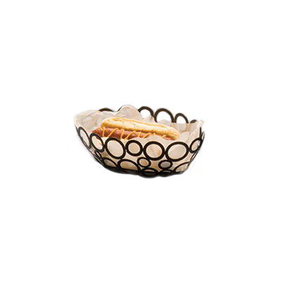 American Metalcraft WBW96 Oval Basket w/ Ring Design, Black