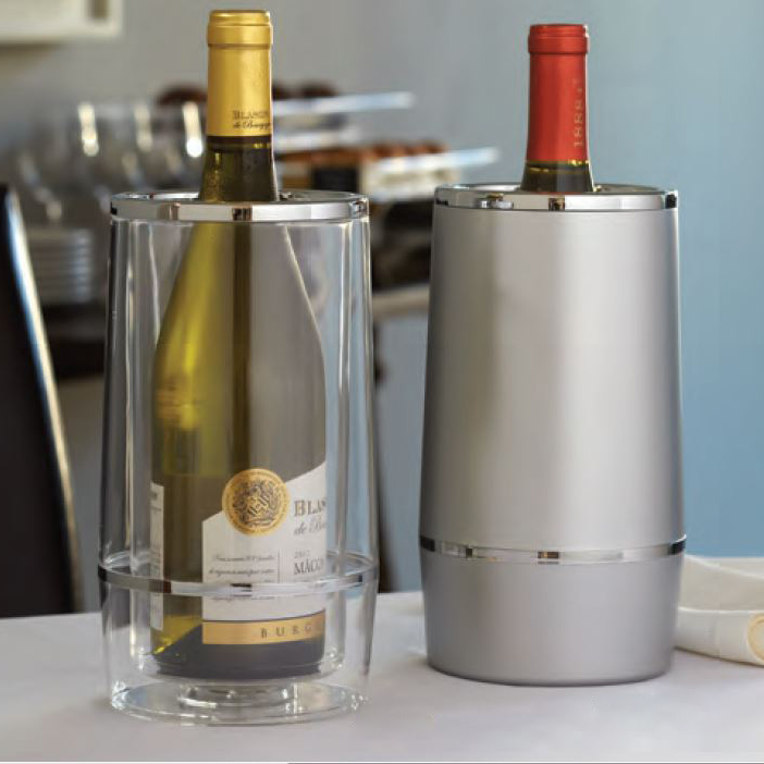 """American Metalcraft WCFS462 3"""" Wine Cooler w/ Double Wall Insulation, Frosted Silver, Acrylic"""