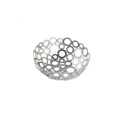 American Metalcraft WCW81 8-in Round Basket w/ Ring Design, Silver