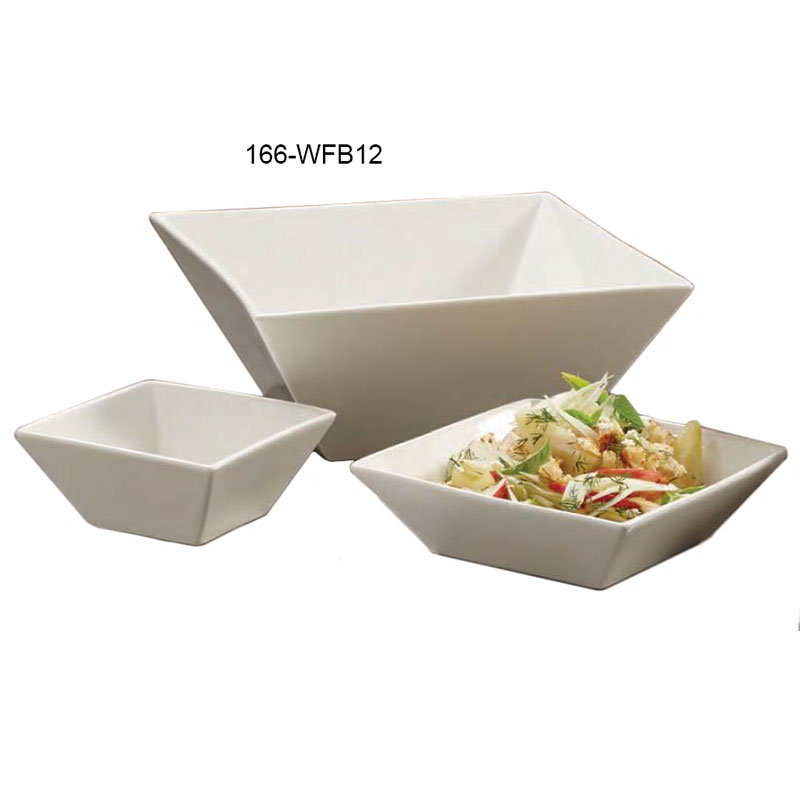 American Metalcraft WFB12 Prestige Bowl 12 in Square White Porcelain Restaurant Supply