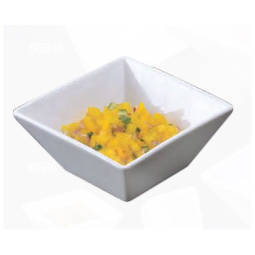 "American Metalcraft WFB6 6"" Square Bowl w/ 25-oz Capacity, White/Porcelain"