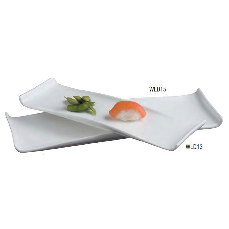 American Metalcraft WLD13 Rectangular Platter w/ Curved Ends, 13.5x4.5-in, White/Porcelain