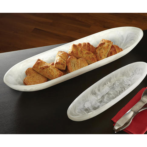 "American Metalcraft WSLB27 Oblong Translucence Boat Bowl - 27-1/4x7-1/2"" White Swirl Resin"