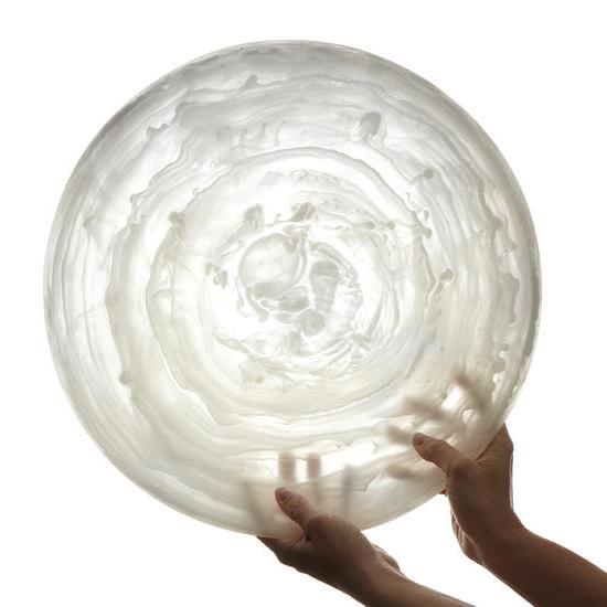 "American Metalcraft WSP15 15-7/8"" Round Translucence Platter - White Swirl Resin"